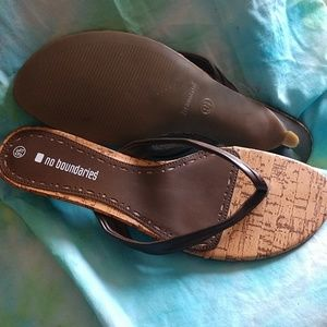 🛍️Cork/brown spike heeled sandals